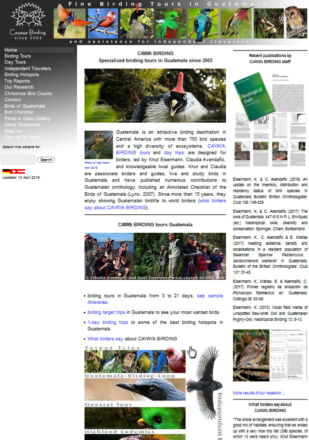 CAYAYA BIRDING website